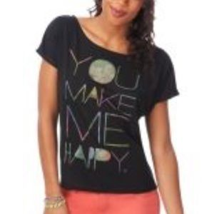 Aeropostale Boatneck Loose Fit Happy Graphic Tee